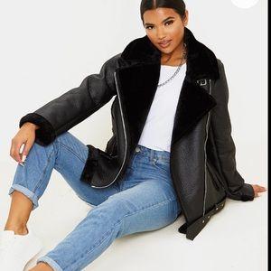PLT oversize faux leather fur aviator jacket NWOT